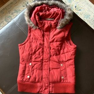 Maurices Maroon vest with hoodie